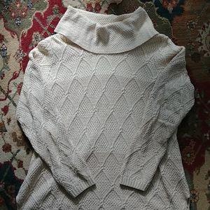 Tricolor Oversized Turtleneck Sweater